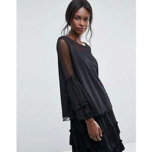 Lace & beads dobbie mesh sheer top with exaggerated sleeve - black, Lace and beads
