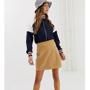 Pimkie mini skirt with side buttons in brown - brown
