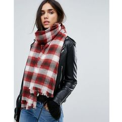 Abercrombie & fitch plaid print scarf - red