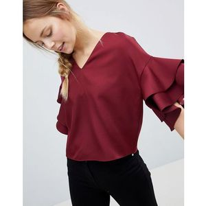 top with frill sleeve detail - red, Parisian