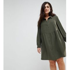 ASOS CURVE Smock Shirt Mini Dress with long sleeves - Green