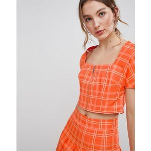 Unique 21 square neck fitted top with zip front in check co-ord - orange, Unique21