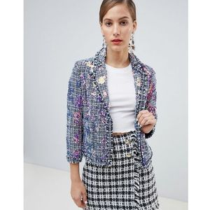 River Island sequin embellished jacket in tweed - Blue