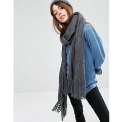 ASOS Long Tassel Scarf in Supersoft Knit - Grey
