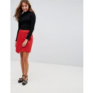 wrap front eyelet detail mini skirt - red marki Pimkie