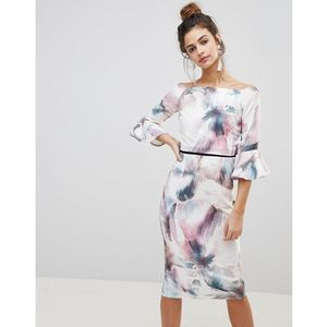 Little Mistress Watercolour Print Pencil Dress With Fluted Sleeves. - Multi