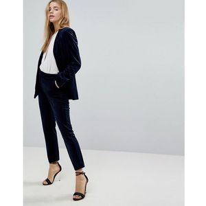Miss selfridge velvet tailored trousers - navy