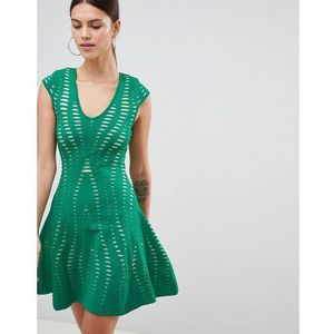 textured a line dress - green marki Forever unique