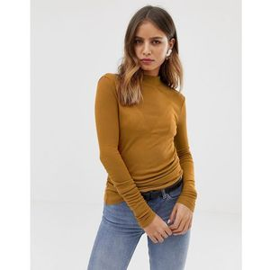 Noisy may turtle neck ribbed top - tan