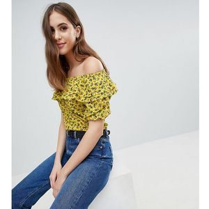 Fashion Union Tall Asymmetric Ruffle Top In Grunge Floral - Yellow