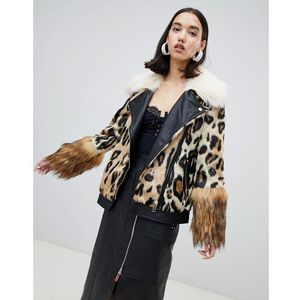 studio faux fur aviator jacket in animal print - beige, River island