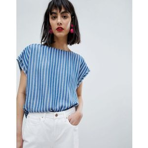 stripe short cap sleeve top - blue marki Esprit