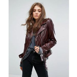 leather biker jacket with buckle detail - red marki Goosecraft