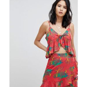 Honey punch tie front camitop in tropical print co-ord - red