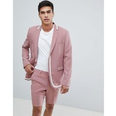 ASOS DESIGN skinny suit jacket in pink with white trim - Pink, kolor różowy