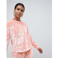 lounge crushed velvet sweat - pink marki Asos design