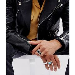 ASOS DESIGN Chunky Ring Pack In Burnished Silver With Feather And Turquoise Stone - Silver