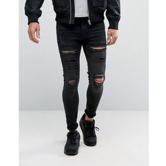 11 Degrees Muscle Fit Jeans With Distressing - Black, kolor czarny
