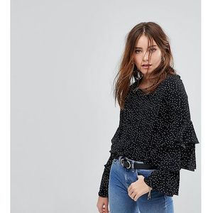 Glamorous petite top with ruffle layer sleeves in spot - black