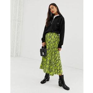 New look pleated midi skirt in neon snake print - green