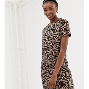 zebra jacquard tunic in brown pattern - brown, New look