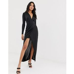 Girl In Mind v neck plunge wrap maxi dress - Black