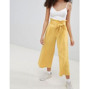 wide leg trouser in yellow - yellow, Bershka
