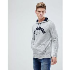 Abercrombie & Fitch Large Flock Logo Hoodie in Phantom Grey - Grey, kolor szary
