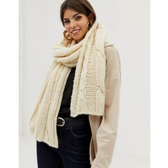 cable knit wool blend scarf - cream marki French connection