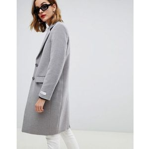 Gianni feraud slim tailored coat with contrast collar - grey
