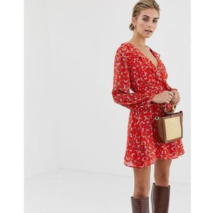 Glamorous wrap dress in vintage floral - Red