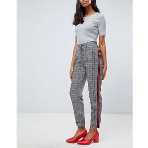 Brave soul tape check trousers with side stripe - black