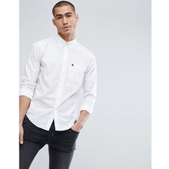 Abercrombie & Fitch Button Down Collar Slim Fit Poplin Shirt Moose Logo in White - White, w 4 rozmiarach