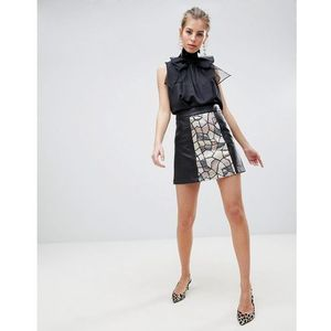 Traffic People Sequin Panelled Mini Skirt - Black