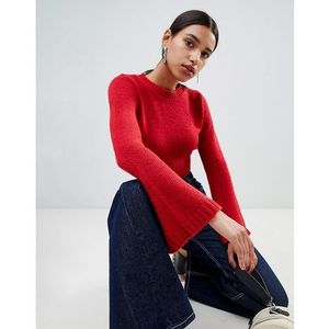 Boohoo Wide Sleeve Cropped Knit - Red