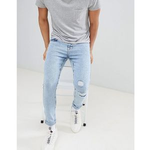 YOURTURN Super Skinny Jeans In Light Blue Acid Wash With Rips - Blue, jeans