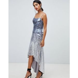 Chi Chi London sequin embellished cami strap midi dress with fluted hem - Multi