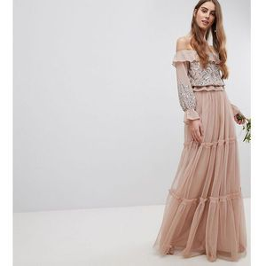 premium tulle layered maxi bridesmaid skirt - brown marki Maya tall