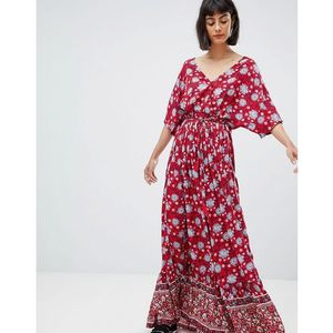 Mango wide sleeve maxi dress in floral print - multi