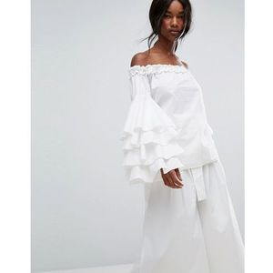 Style mafia off shoulder extreme ruffle top - white