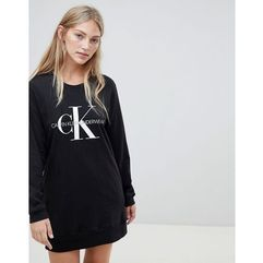 Calvin Klein Monogram long sleeve lounge nightshirt black - Grey, kolor szary