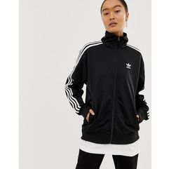 adidas Originals Firebird black three stripe jacket in black - Black