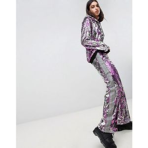 Jaded London Festival All Over Sequin Taped Tracksuit Bottoms - Pink