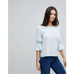 Ax paris 3/4 sleeve top with lace detail - blue