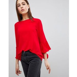 madrid top with fluted sleeves - red, Brave soul