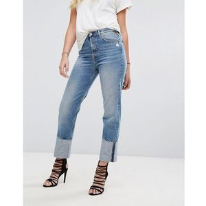 Replay High Waist Jean with Extended Hem Detail - Blue