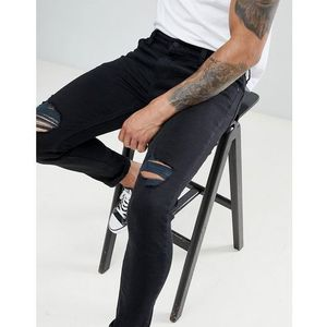 Rollas stinger skinny jeans with knee rips - Black, kolor czarny