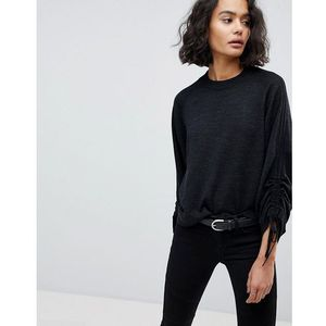 AllSaints Ruched Sleeve Jumper - Black