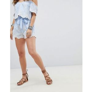 tie front shorts in pinstripe & lace co-ord - blue marki Kiss the sky