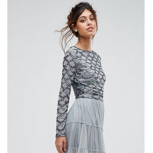 Lace & beads scallop embellished crop top with long sleeve - grey, Lace and beads
